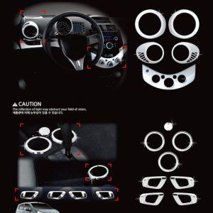 Ốp (cửa điều hòa, tay cửa & táp lô trung tâm/ 13 pcs) chrome – GM Matiz Creative ( Matiz 4 ) – C385